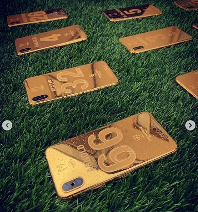Each player has their shirt number and name on the back of their gold customised phones