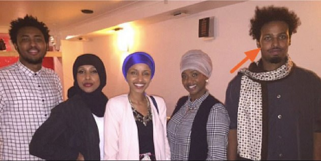 The first marriage of Ilhan Omar (center) to Ahmed Abdisalan Hirsi was without a certificate. Omar then married Ahmed Nur Said Elmi (pictured far right), but the two divorced in their faith tradition without taking legal action until 2017