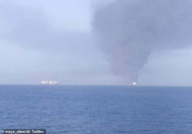 This picture purports to show the stricken Front Altair on fire after it was attacked in the Gulf of Oman today. The photo was said to be taken from a nearby vessel