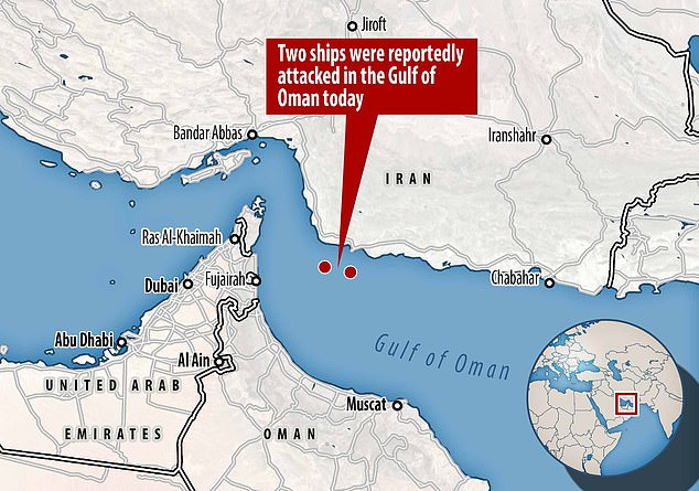 A map showing the location of the Gulf of Oman in the Middle East flashpoint
