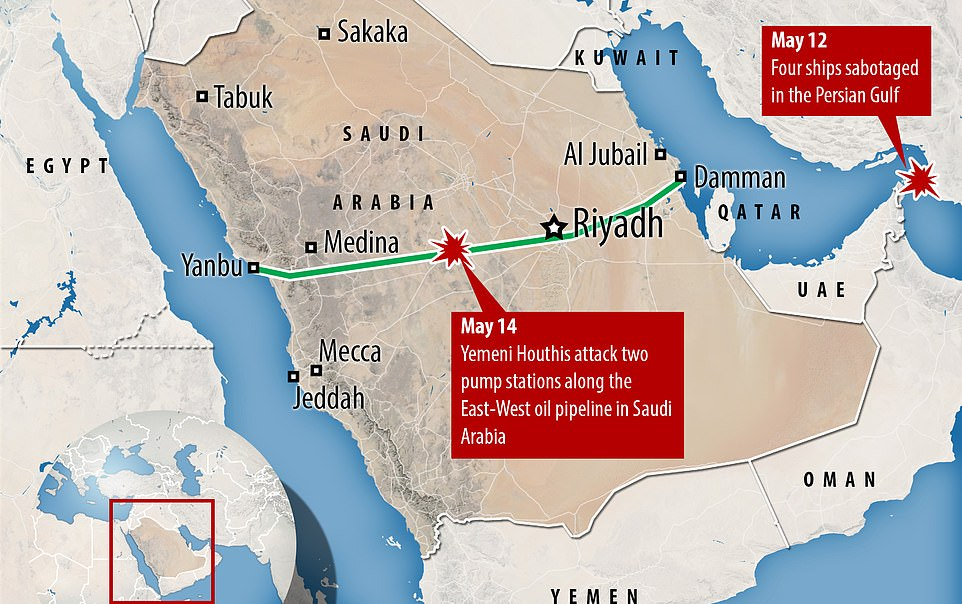 The attacks on Wednesday and Thursday mark the latest flashpoint amid escalating Middle East tensions, which erupted again last month after tankers and an oil pipeline were targeted (pictured, a diagram showing the location of May's attacks)