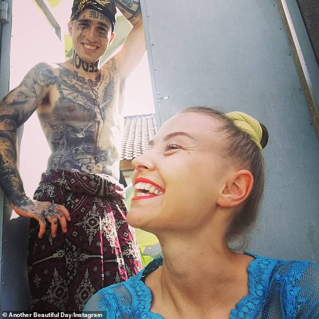 A heavily tattooed Instagram couple are begging for money online to fund their luxurious lifestyle - but claim his mother is forced to work two jobs to support their country hopping