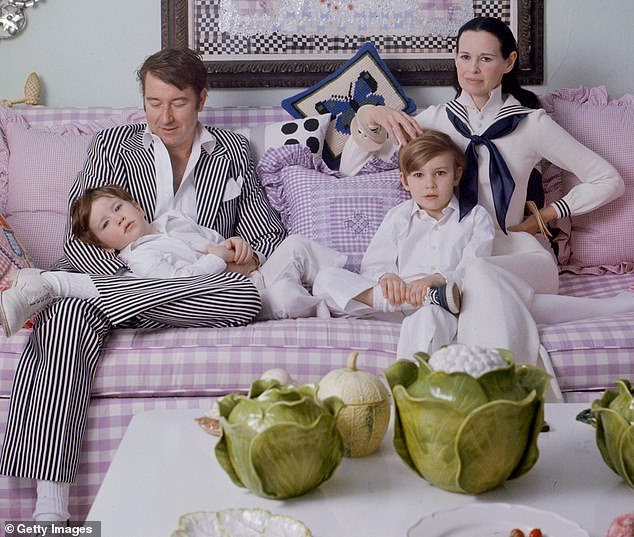 Vanderbilt is shown with her fourth husband, Wyatt Cooper and their sons, Anderson and Carter in 1972. Wyatt died six years later after undergoing heart surgery and Carter committed suicide in 1988