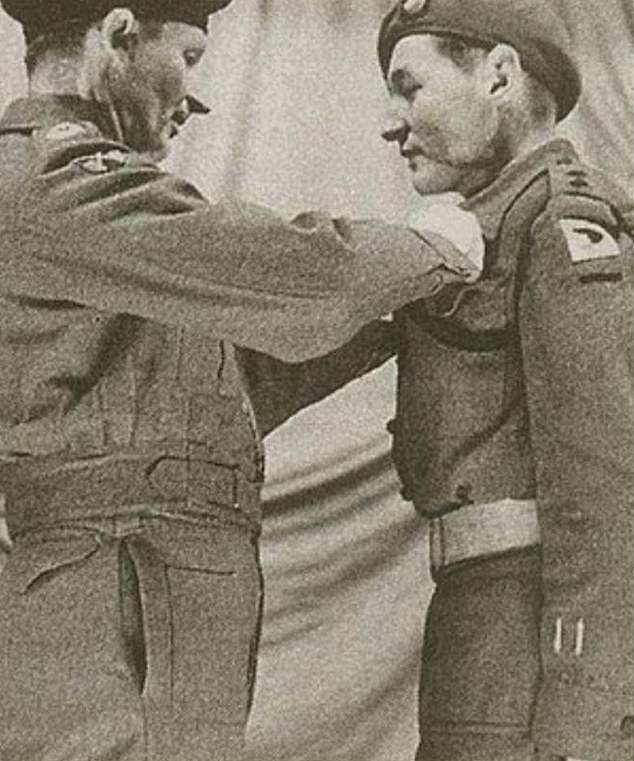 Lord Bramall, as a lieutenant, receiving his Military Cross for gallantry in the field from Field Marshall Montgomery in 1945