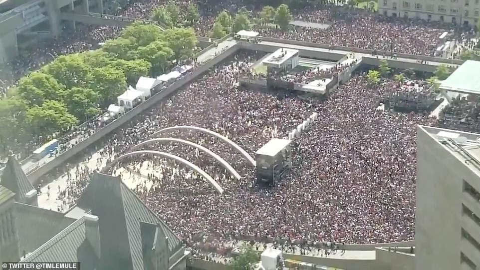 While hundreds, or even thousands of fans fled in terror, most the of people packing the 12-acre Nathan Phillips Square did not seem to react to the gunshots. In fact, the final speeches at the Raptors' rally went on as planned following the incident