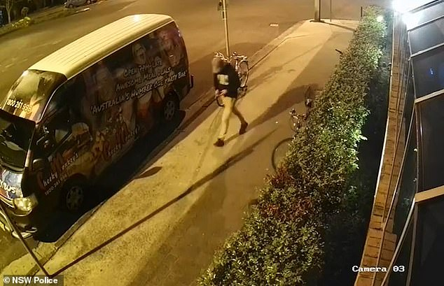 Police previously released footage showing Mr Hayez walking from the Cheeky Monkey's nightclub wearing a black hooded jumper, beige pants and black shoes (pictured)