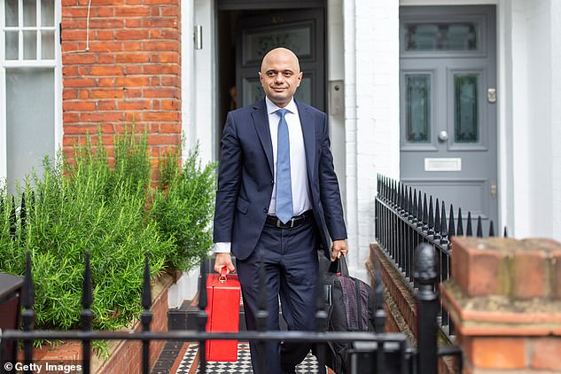 During the hustings today, Sajid Javid (pictured leaving his London home today) delivered an extraordinary rebuke to Donald Trump for criticising the UK over a spate of knife crime