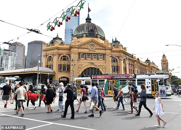 Melbourne values plunged by 9.4 per cent in the year to March, with prices sinking to $655,000, as quarterly values fell by 3.8 per cent (pictured is Federation Square)