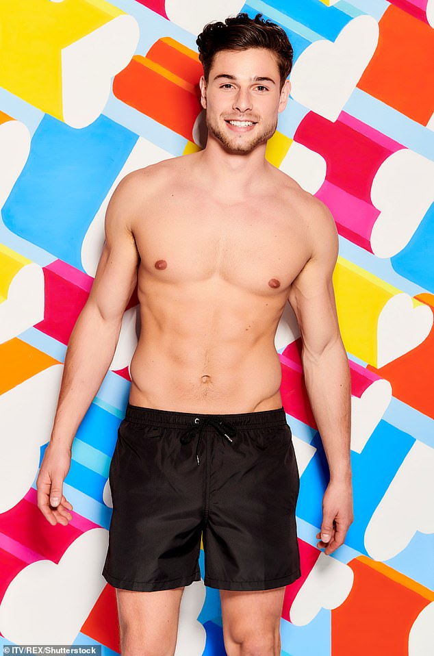 Hunky:The model made shockwaves when he arrived in the Love Island villa as a latecomer