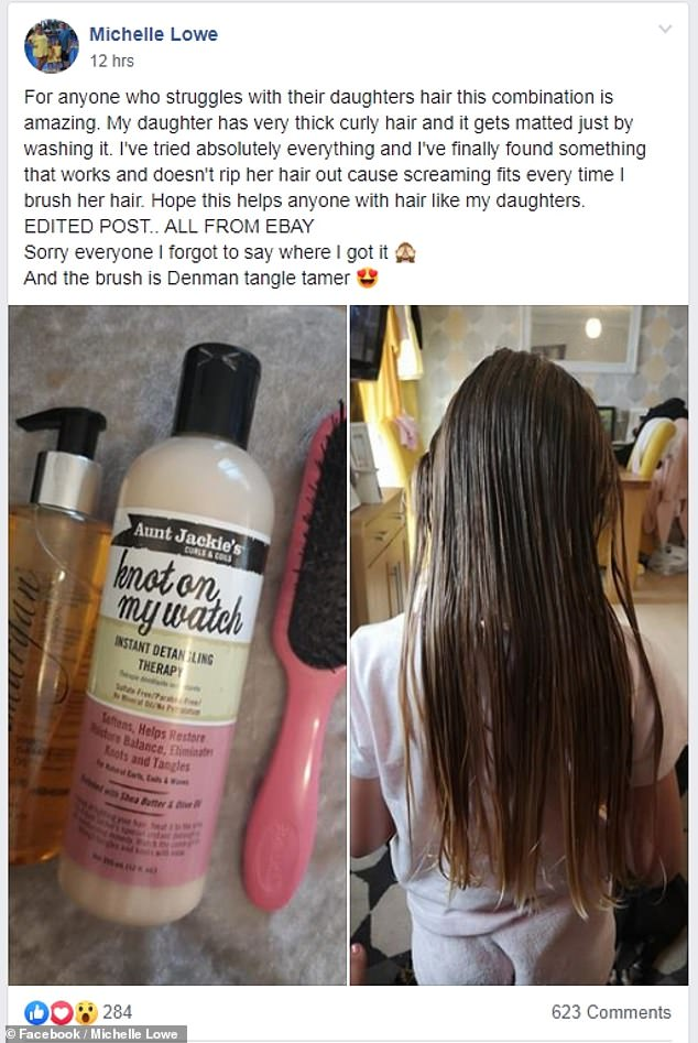 Mother-of-two Michelle Lowe, from Wales, has praised the combination of a conditioner, hair brush and argan oil with helping to tame her daughter's curly hair