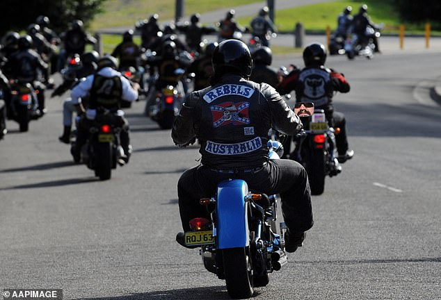 The lawyer's client was an outlaw motorcycle gang member, and he was representing him in a case against Strike Force Raptor, an elite NSW Police unit set up to tackle the scourge of bikie crime. Pictured: Rebels bikies in Sydney, 2009 (stock image)