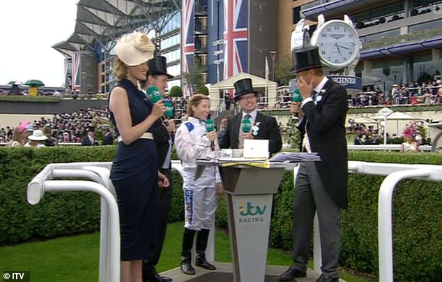 ITV's racing anchor Ed Chamberlin was seen wiping away tears after Turner's historic win
