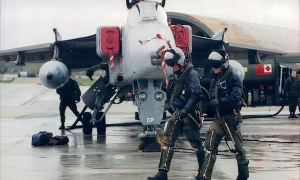 British United Nations Peace Keeping forces in Bosnia in the 1990s. Pictured: RAF Tornadosand pilots at Gioia del Colle base, near Bari, Italy, waiting to be deployed