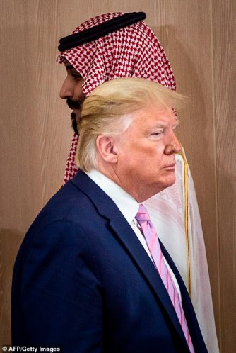 Trump passes Bin Salman as they gather for the meeting
