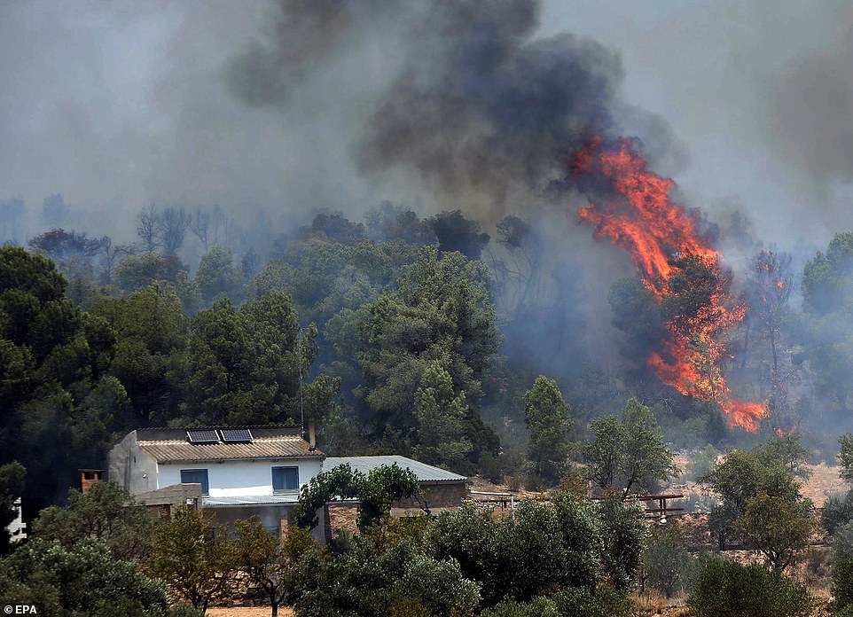 Flames rage close to a house amid a fierce forest fire ripping acrossLa Torre de l'Espanyol in Tarragona, Spain yesterday