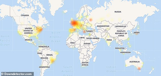 Those in mainland Europe seem to be hardest hit as well as a smattering of people in the eastern United States. Pictured: Outage map for worldwide Instagram outage reports