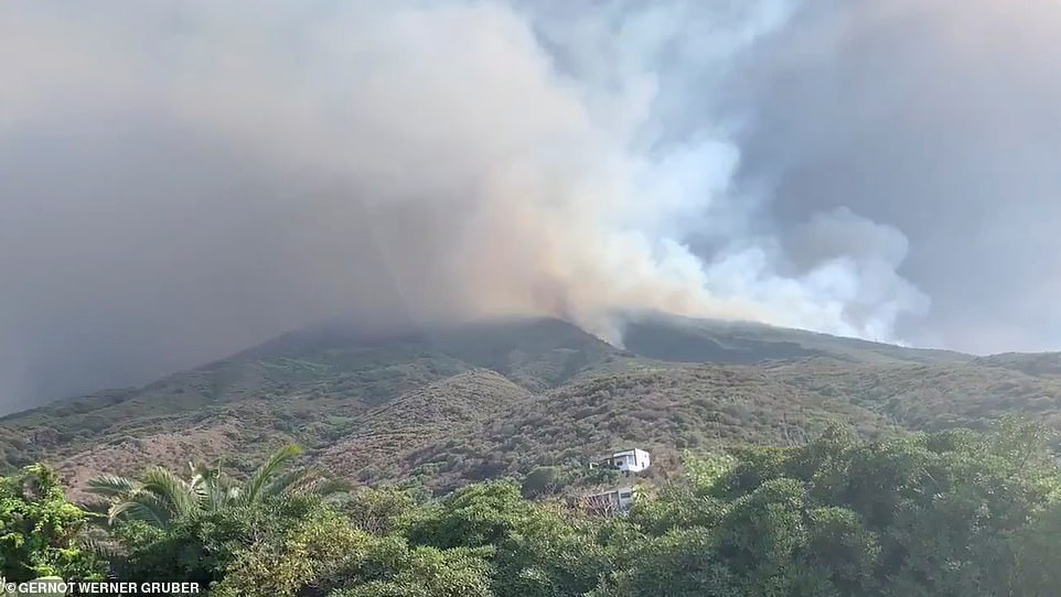 According to reports, the island of Stromboli was hit by a set of violent volcano eruptions spurring beach tourists to run into the sea