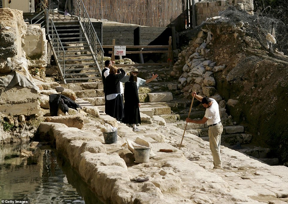 The 350-yard road led to the temple from a spring known as the Pool of Siloam, (pictured) where pilgrims would cleanse themselves before visiting the temple