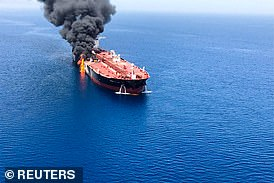 Blame: The US says Iran attacked this oil tanker in the Gulf of Oman in June