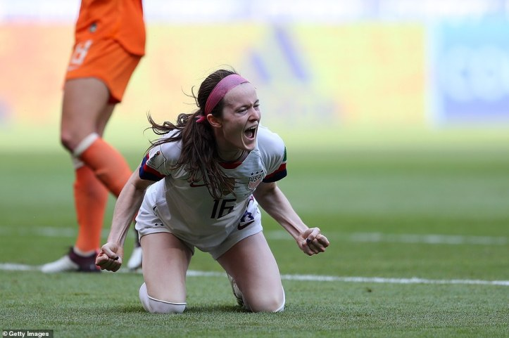 Rose Lavelle of the USA celebrates after scoring her team's second goal of the final against the Netherlands