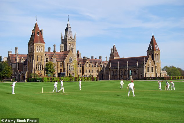 Mr Goldsmith was playing cricket match at Charterhouse School, Surrey, (above) when he took a call about his tragic daughter's fatal crash and raced back to Somerset with his sons
