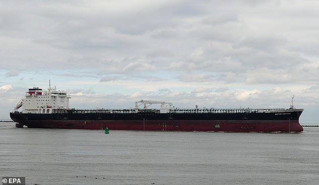 The British Heritage (file image) loaded its cargo of crude oil at Basra, Iraq, as planned on July 4 - the day the Marines seized the Iranian tanker - and then diverted to shelter in Saudi waters until last night