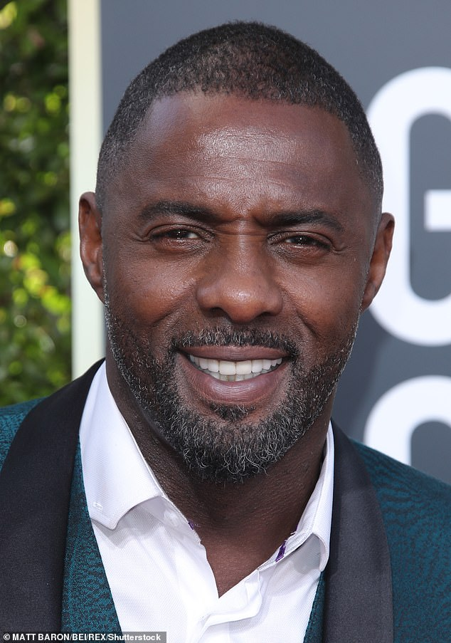Playing cool: However when Idris was asked if there was any Dr.Dre, Tupac or Snoop played at the nuptials, Idris laughed as he replied: 'Ask Harry and Meghan'