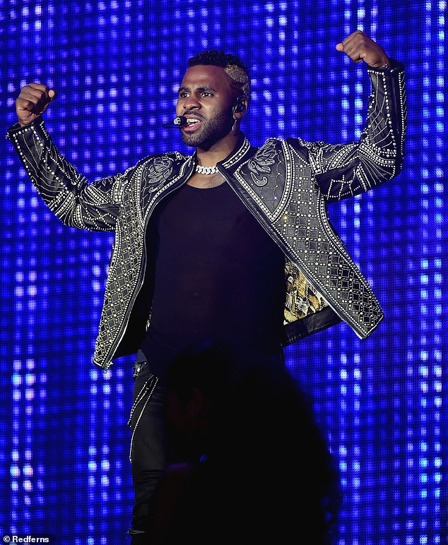 Back in action: Jason Deruloseemed to be in good health as he performed Friday at Moon & Stars Festival in Switzerland