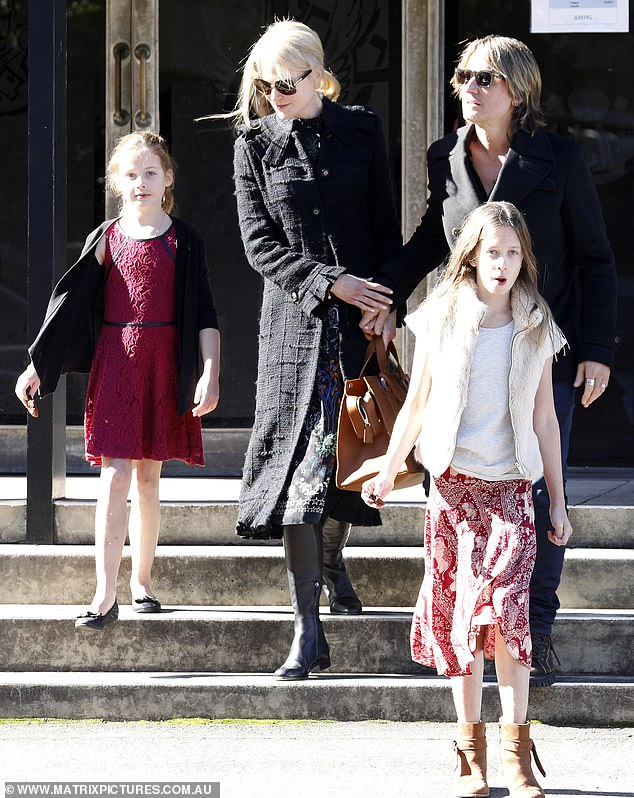 Sky-born Nicole Kidman, 52, and Keith Urban, 51, attended church service with their two daughters Sunday Rose, 11 and Faith Margaret eight, in Sydney, Sunday