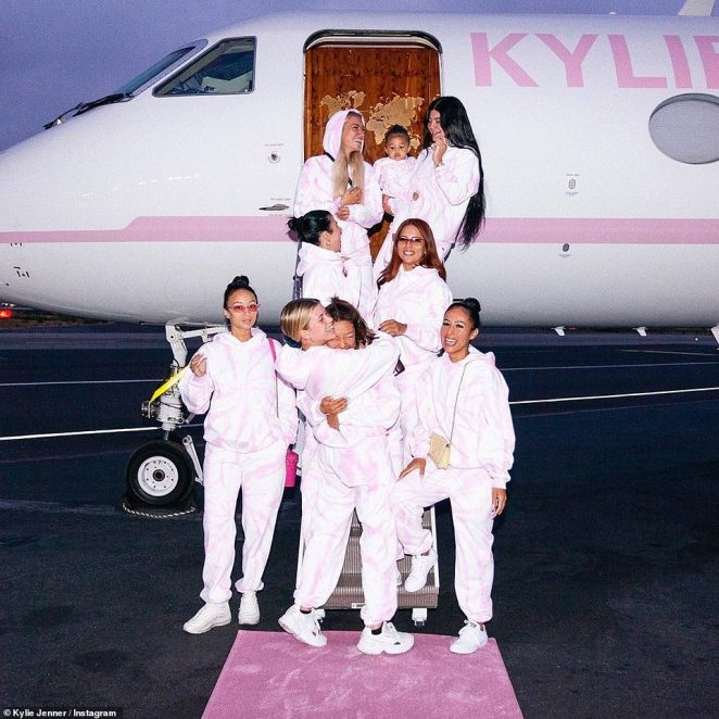 Think pink! Her new skincare line Kylie Skin dropped back in May. And on Saturday, Kylie Jenner promoted her latest project in a huge way - a massive private jet wrapped in a baby-pink stripe and letters that spelled none other than the name of her new line of products