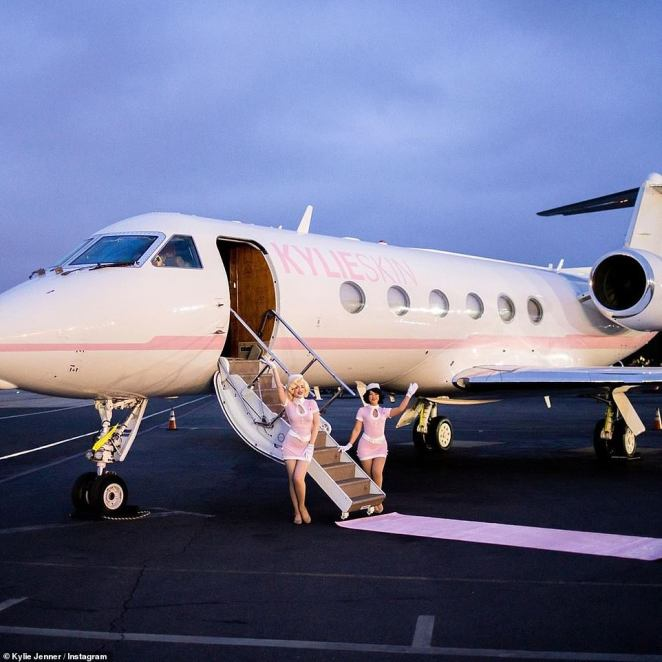 All aboard! Kylie, 21, invited her friends as well as one-year-old daughter Stormi to the jet's unveiling, rolling out a rose-colored carpet for them to walk on as they boarded the plane
