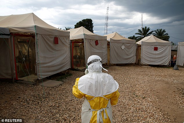 A health worker is pictured wearing Ebola protective gear as they entered the the Biosecure Emergency Care Unit at the ALIMA Ebola treatment centre in Beni