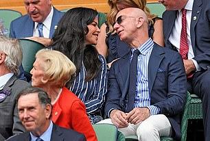 Jeff Bezos with new girlfriend Lauren Sanchez in the Royal Box at Wimbledon