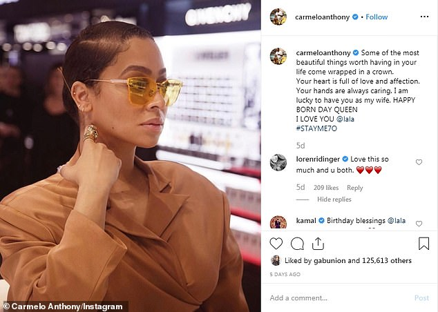 Happy birthday: Adding salt to the wound, the photos were released on La La's birthday after he posted a sweet message for her to Instagram:'I am lucky to have you as my wife'