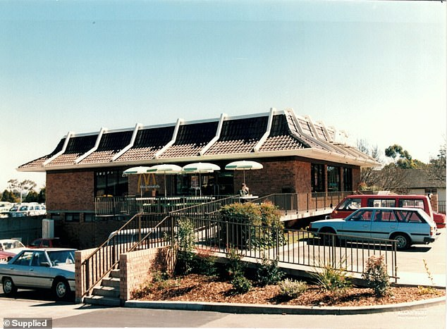 Fascinating before and after photos have shown the incredible development of McDonald's restaurants from the first branch in 1971 (pictured in Yagoona, western Sydney) to today
