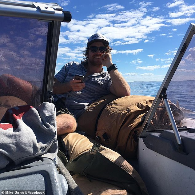 Mike Daniell, 27, (pictured) was spearfishing with his mate on the Sunshine Coast in Queensland when he failed to resurface on Saturday morning