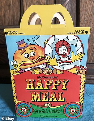 Customers would have enjoyed a very different menu selection to the one they choose from in 2019, before the days of the Happy Meals unveiled in the late 1970s (1979 Happy Meal packaging pictured)