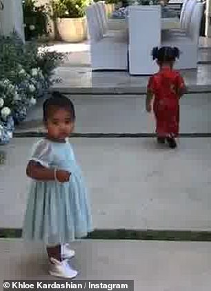Sweet: Tristan Thompson's daughter looked at her clothes in blue, inspired by Cinderella. Chicago, head, kimono, wore North West, six, sleeve top and leggings