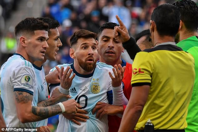 Messi protested his innocence but his game was cut short in the first half of the match