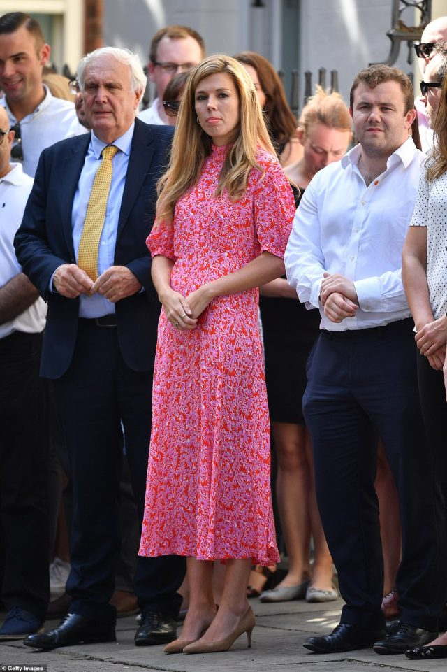 Boris Johnson's girlfriend Carrie Symonds stood outside Number 10 as her partner gave his first speech in Downing Street after the election victory