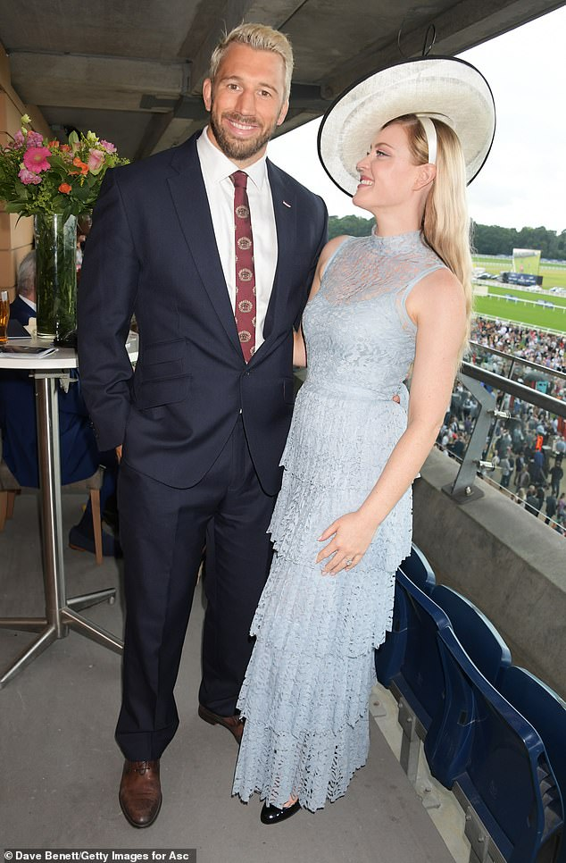 Look of love: Camilla and Chris married in 2018, prior to this, they decided to keep their engagement tightly under wraps for an impressive two years, finally breaking the news at the Wimbledon Tennis Championships (pictured in 2019)