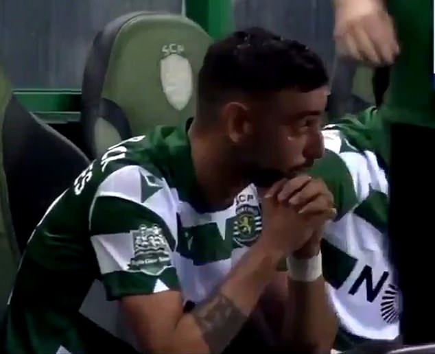 Bruno Fernandes was left in tears as he appeared to signal his final game for Sporting Lisbon