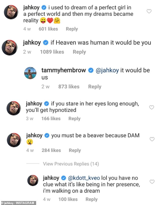 Romantic? Throughout July, Jahkoy left a total of 57 gushing comments under Tammy's posts
