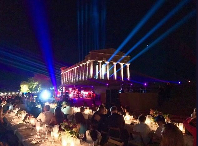 A concert at the Temple of Hera at the Paestum Archaeological UNESCO World Heritage where a host of celebrities gathered for Google Campclimate change conference
