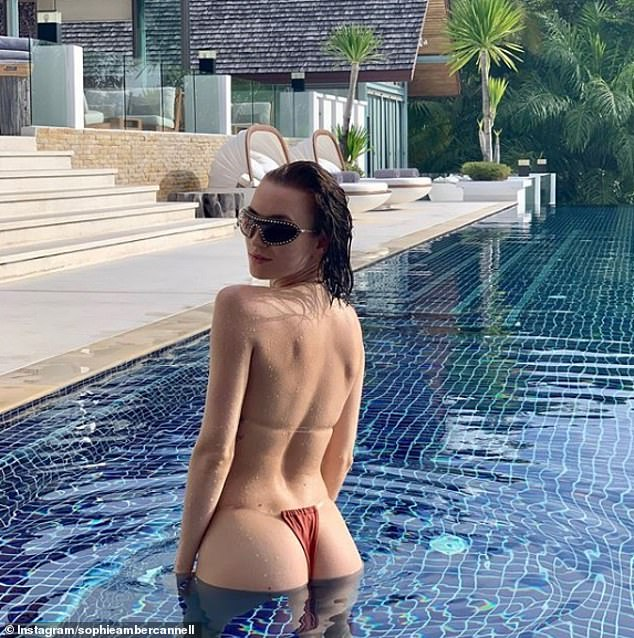 Beach holiday: Sophie Cannell shared this snap taken in Phuket, Thailand. The former ballet dancer documents her glamorous, jet-set life on social media as she splits her time between London and LA