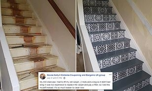 Diy Mum Reveals How She Totally Transformed Her Staircase With £65   Vinyl And Carpet Stairs   Thin   Indoor   Light   Low Pile   Laminate