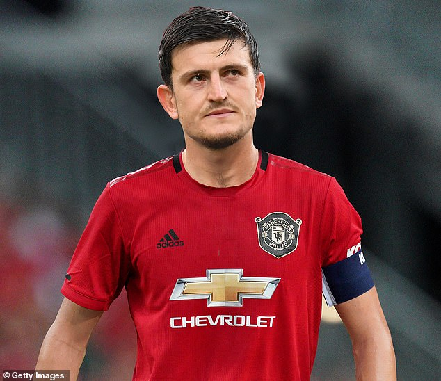 Manchester United have agreed to pay a record Leicester £80million for defender Harry Maguire (pictured mocked-up in the shirt he will wear at Old Trafford this season)