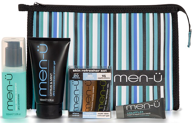 Men-u's Travel Kit offers a striped bag (above) with shaving cream, shampoo, shower gel, face wash and 'skin refresh' gel