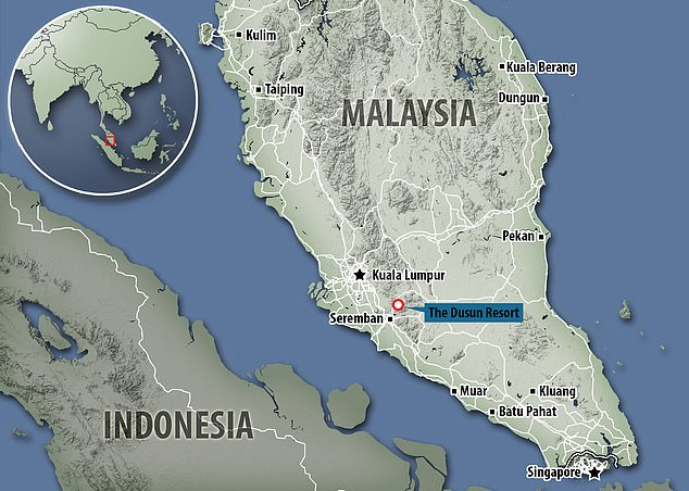 Map shows Dusun Resort near Seremban in Malaysia where Nora went missing last year