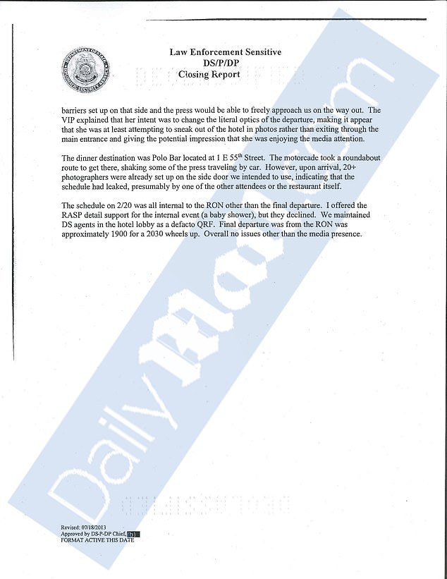 Large sections of the documents were redacted, but some were unclassified and provided to DailyMail.com, including two threat assessments conducted just days before she arrived in NYC
